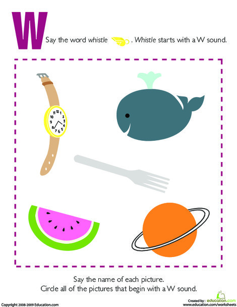 Preschool Reading & Writing Worksheets: Letter Sounds: W
