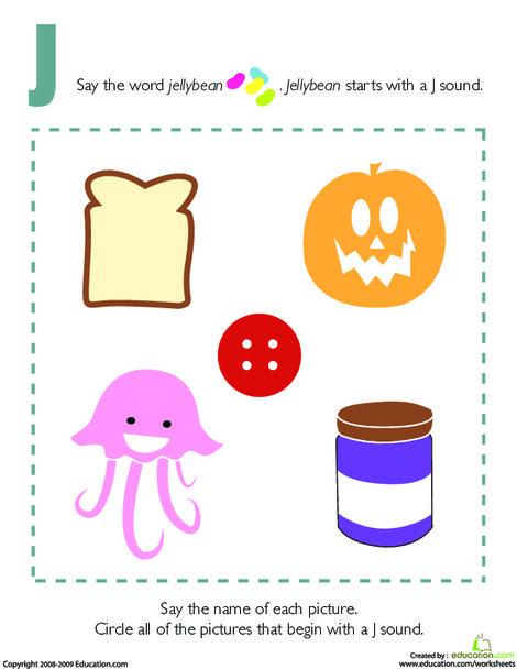 Preschool Reading & Writing Worksheets: Letter Sounds: J