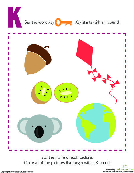 Preschool Reading & Writing Worksheets: Letter Sounds: K