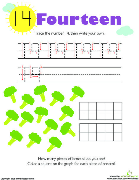 Kindergarten Math Worksheets: Tracing Numbers & Counting: 14