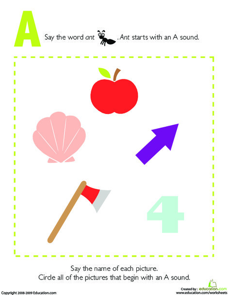Preschool Reading & Writing Worksheets: Letter Sounds: A