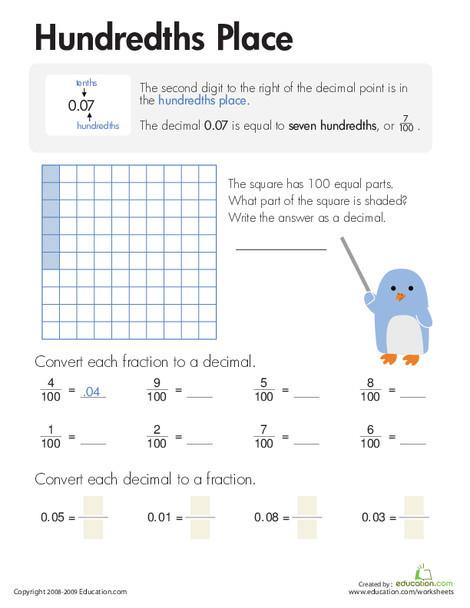 Third Grade Math Worksheets: Decimals: Hundredths Place