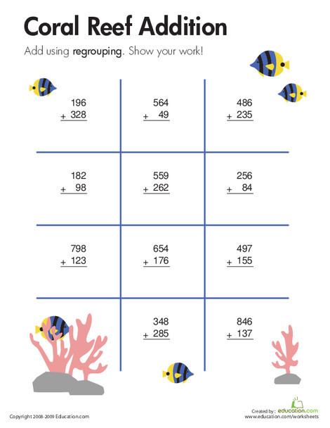 Third Grade Math Worksheets: Coral Reef: Three-Digit Addition with Regrouping