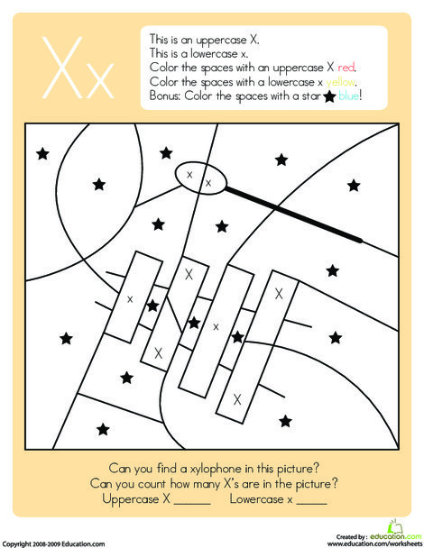 Kindergarten Reading & Writing Worksheets: Color by Letter: Capital and Lowercase X