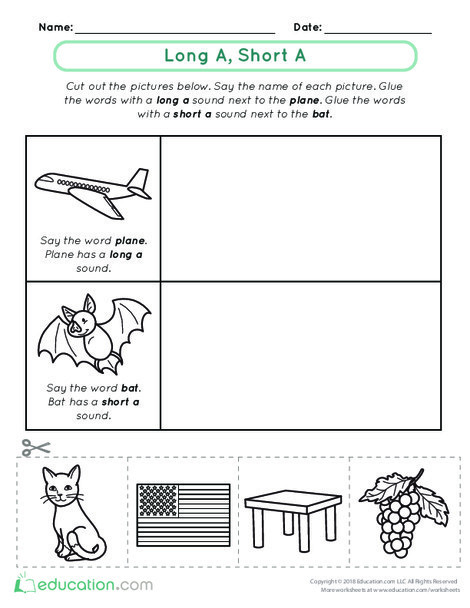 Kindergarten Reading & Writing Worksheets: Vowel Sounds: Long A, Short A