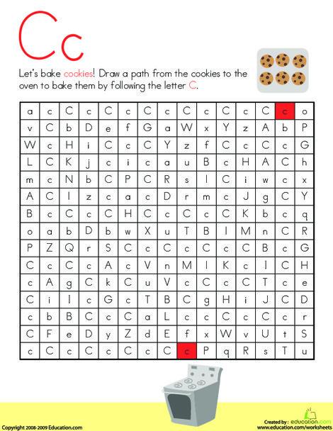 Kindergarten Reading & Writing Worksheets: Letter Maze: C