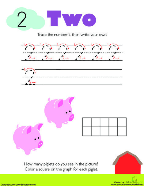 Kindergarten Math Worksheets: Tracing Numbers & Counting: 2