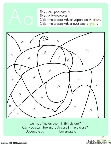 Kindergarten Reading & Writing Worksheets: Color by Letter: Capital and Lowercase A