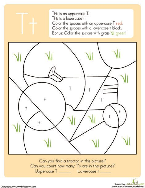 Kindergarten Reading & Writing Worksheets: Color by Letter: Capital and Lowercase T