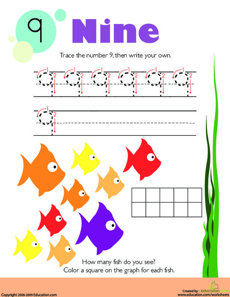 Kindergarten Math Worksheets: Tracing Numbers & Counting: 9