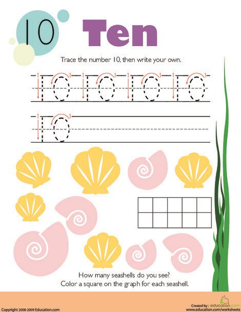 Kindergarten Math Worksheets: Tracing Numbers & Counting: 10
