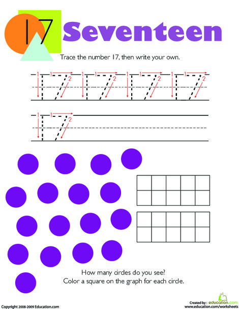 Kindergarten Math Worksheets: Tracing Numbers & Counting: 17