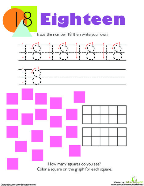 Kindergarten Math Worksheets: Tracing Numbers & Counting: 18
