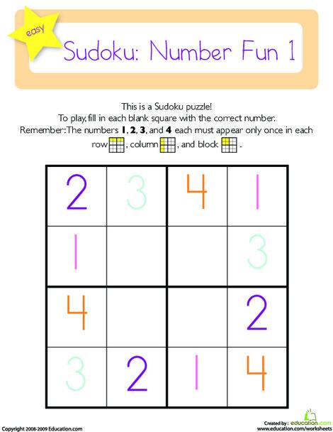 Kindergarten Math Worksheets: Sudoku 4x4