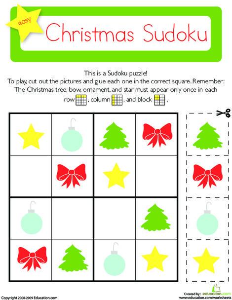 Kindergarten Math Worksheets: Christmas Sudoku