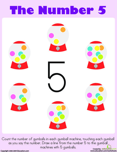 Preschool Math Worksheets: Counting: The Number 5