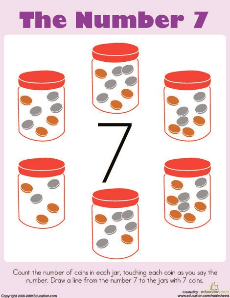Preschool Math Worksheets: Counting: The Number 7