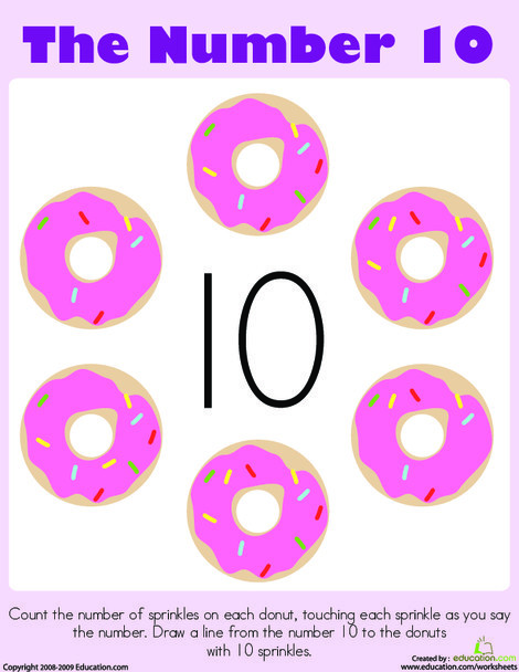 Preschool Math Worksheets: Counting: The Number 10