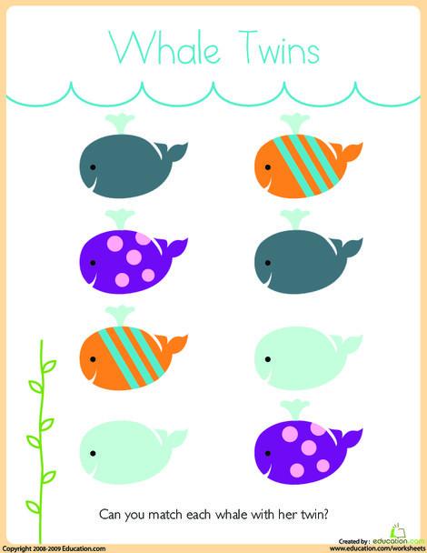 Preschool Math Worksheets: Matching: Whale Twins