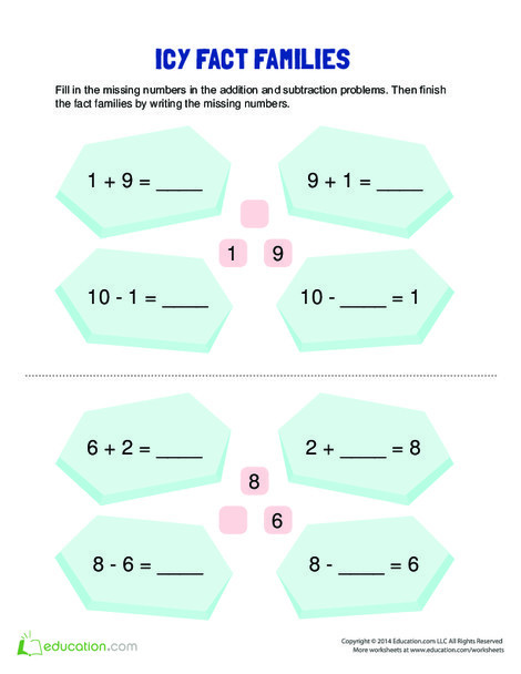 First Grade Math Worksheets: Fact Family Practice: Icy Fact Families