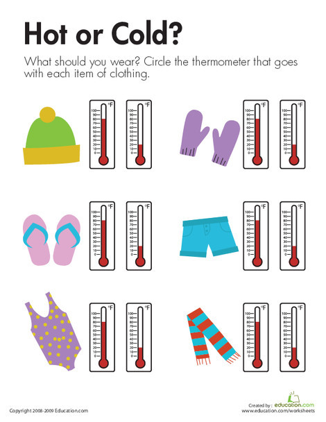 First Grade Science Worksheets: Temperature: Hot or Cold?