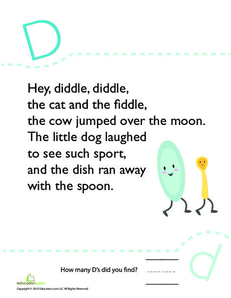 Kindergarten Reading & Writing Worksheets: Find the Letter D: Hey Diddle Diddle