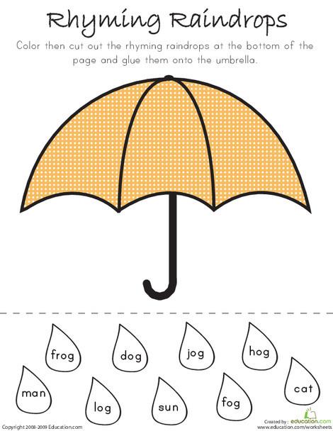 Kindergarten Reading & Writing Worksheets: Rhyming Raindrops