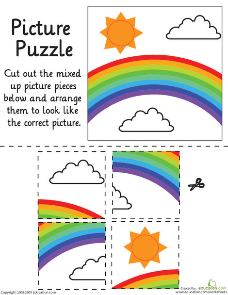 Kindergarten Math Worksheets: Rainbow Picture Puzzle