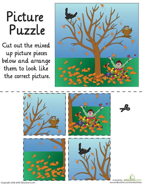 Kindergarten Math Worksheets: Autumn Leaves Picture Puzzle