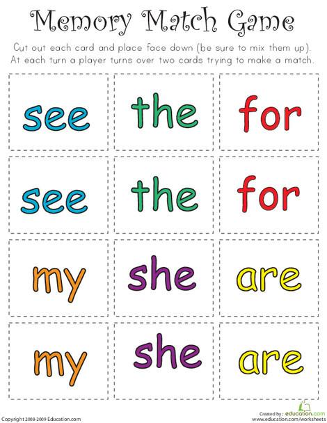 Kindergarten Reading & Writing Worksheets: Sight Word Memory Match III