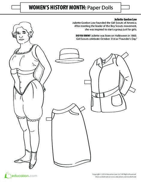 Second Grade Seasons Worksheets: Juliette Gordon Low Paper Doll
