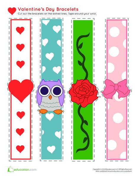 First Grade Holidays Worksheets: Valentine's Day Bracelets