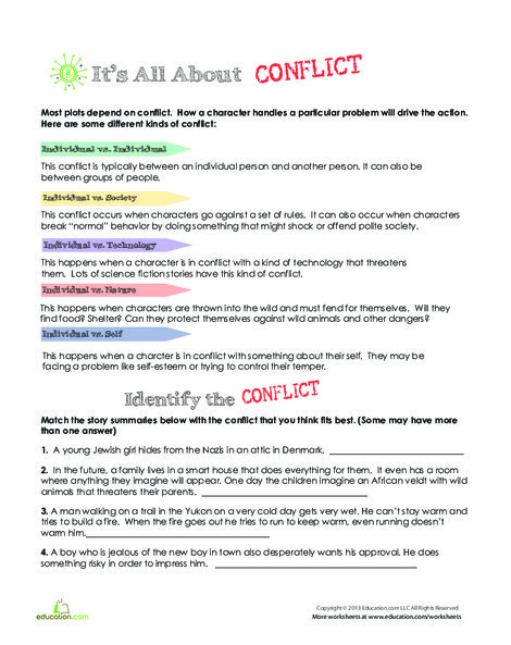 Fourth Grade Reading & Writing Worksheets: Conflict in Literature