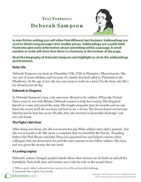 Second Grade Reading & Writing Worksheets: Deborah Sampson