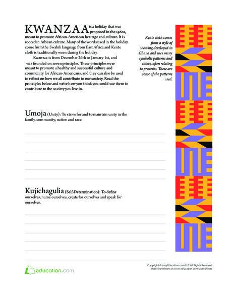 Fifth Grade Reading & Writing Worksheets: Kwanzaa History