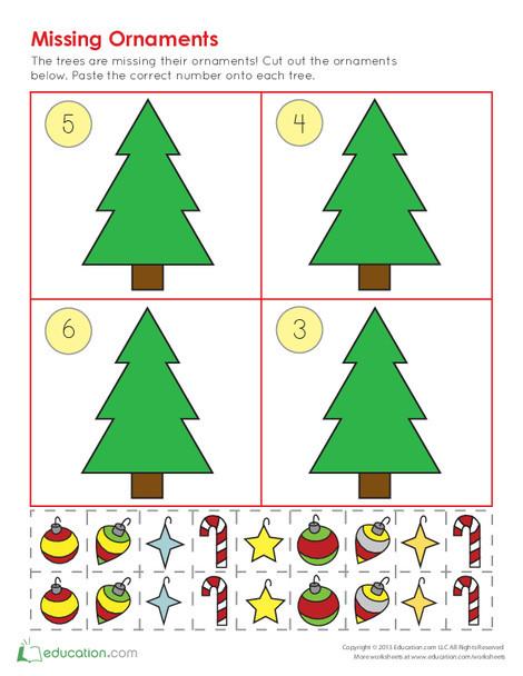 Kindergarten Math Worksheets: Christmas Ornament Counting