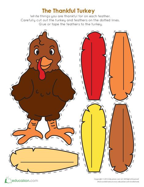 Kindergarten Holidays Worksheets: Thankful Turkey Craft