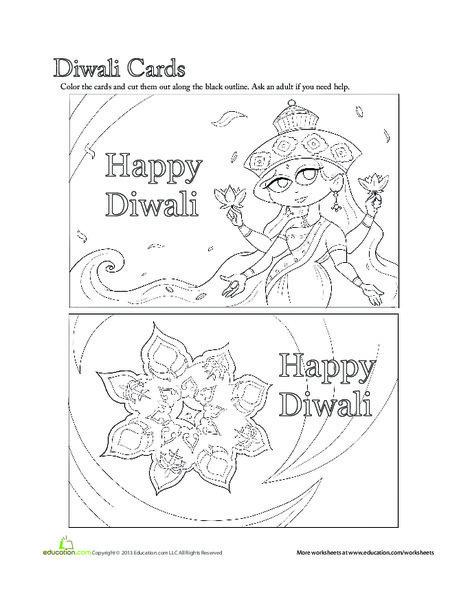 First Grade Seasons Worksheets: Diwali Cards