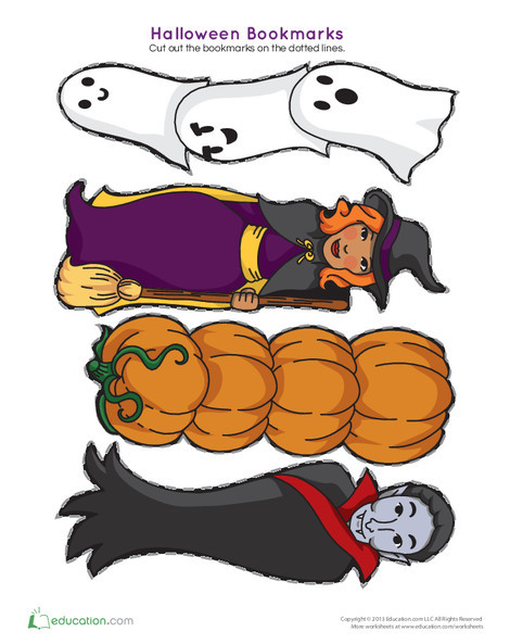 First Grade Holidays Worksheets: Halloween Bookmarks