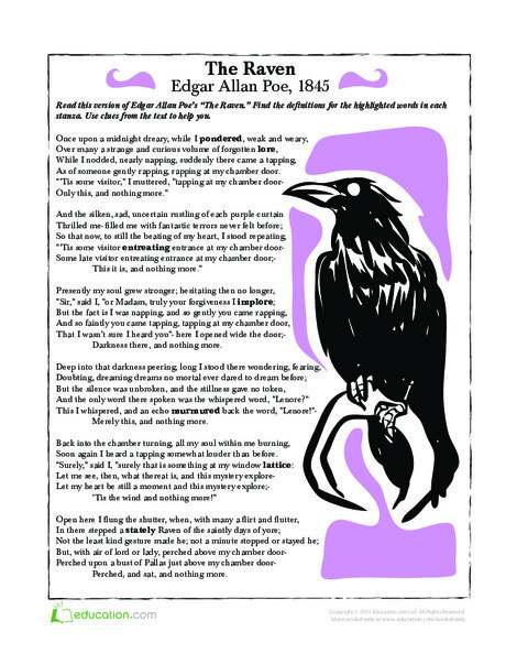 Fifth Grade Holidays Worksheets: The Raven
