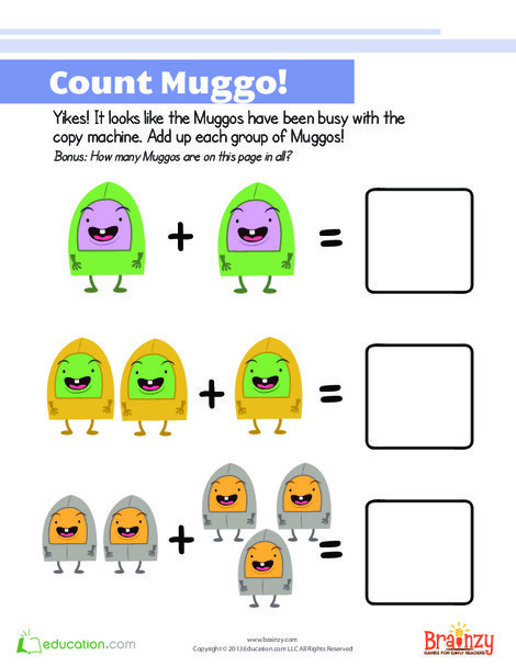 Kindergarten Math Worksheets: Counting and Adding
