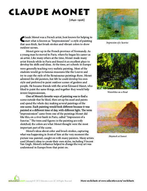 Fifth Grade Fine arts Worksheets: Monet