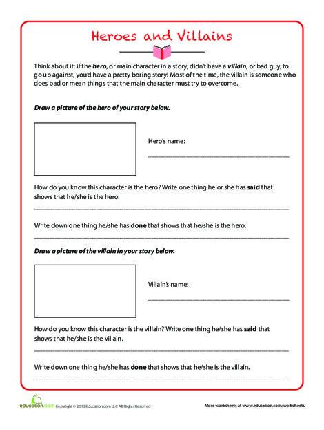 Third Grade Reading & Writing Worksheets: Heroes and Villains