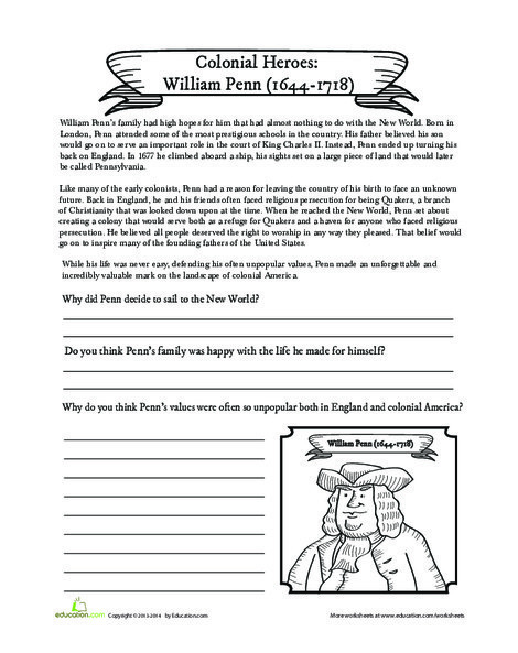 Fifth Grade Social studies Worksheets: William Penn