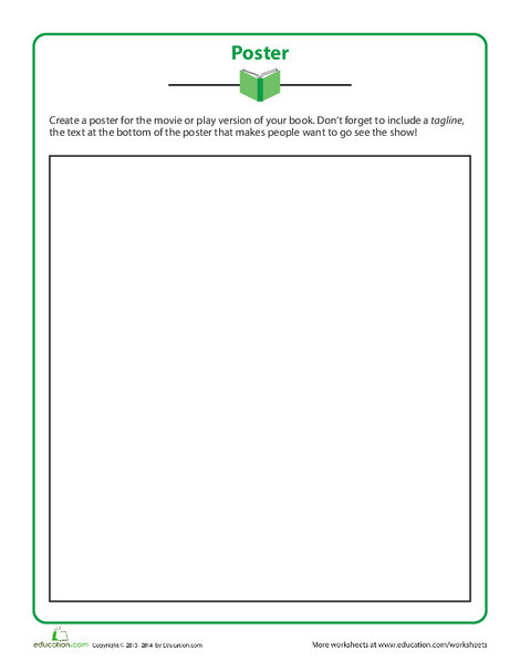 Fifth Grade Reading & Writing Worksheets: Book Poster