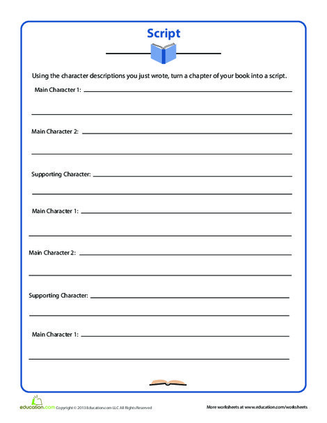 Fifth Grade Reading & Writing Worksheets: Book Script