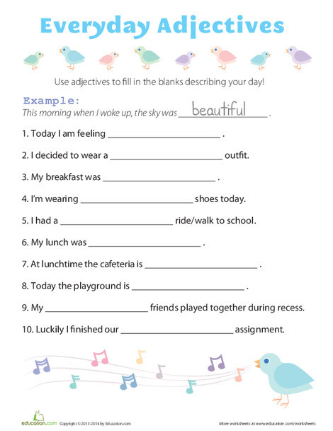 First Grade Reading & Writing Worksheets: Everyday Adjectives
