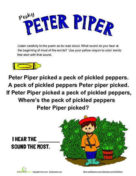 Preschool Reading & Writing Worksheets: Peter Piper Alliteration