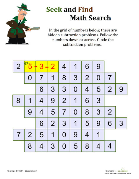 First Grade Math Worksheets: Math Search Printable