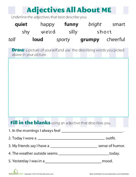 First Grade Reading & Writing Worksheets: Adjectives that Describe You